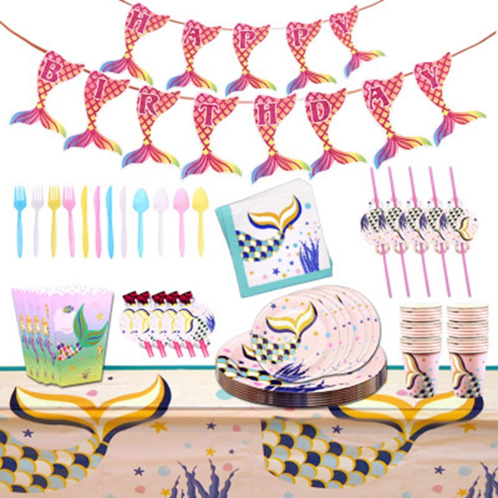 Mermaid Birthday Party Supplie Disposable Tableware Mermaid Tail Plate/Napkin/Cup/Straw Happy Birthday Party Deco Kids Girl 1st