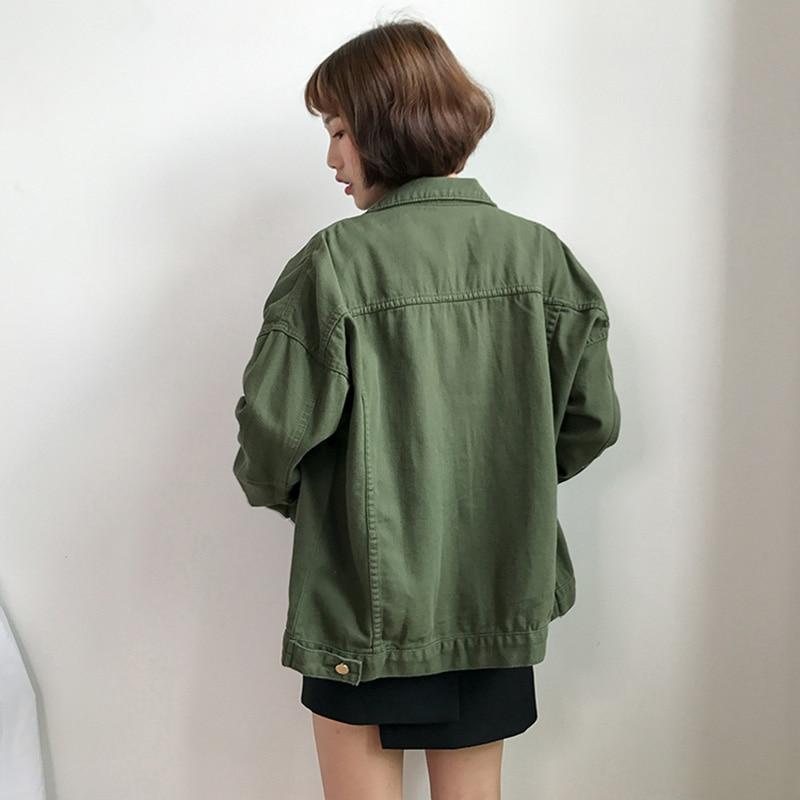 Basic Jeans Jacket Women Green 2019 Autumn Woman Denim Jean Womens Coats Jackets Female Slim Stretch Short Coat Feminina Clothes