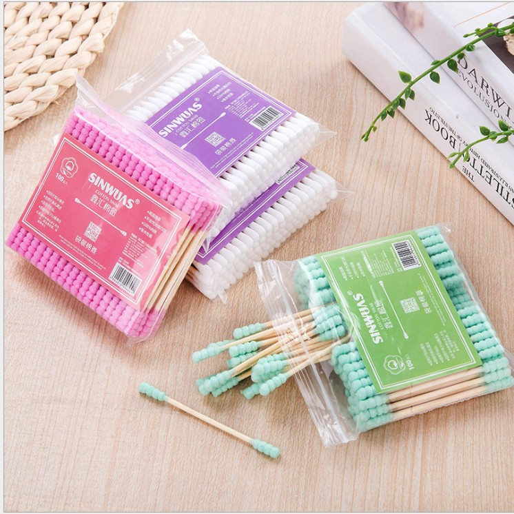 Купить с кэшбэком Yooap baby cotton swab Double Head Cotton Swab Women Makeup Cotton Buds Tip For Medical Wood Sticks Nose Ears Cleaning Tools