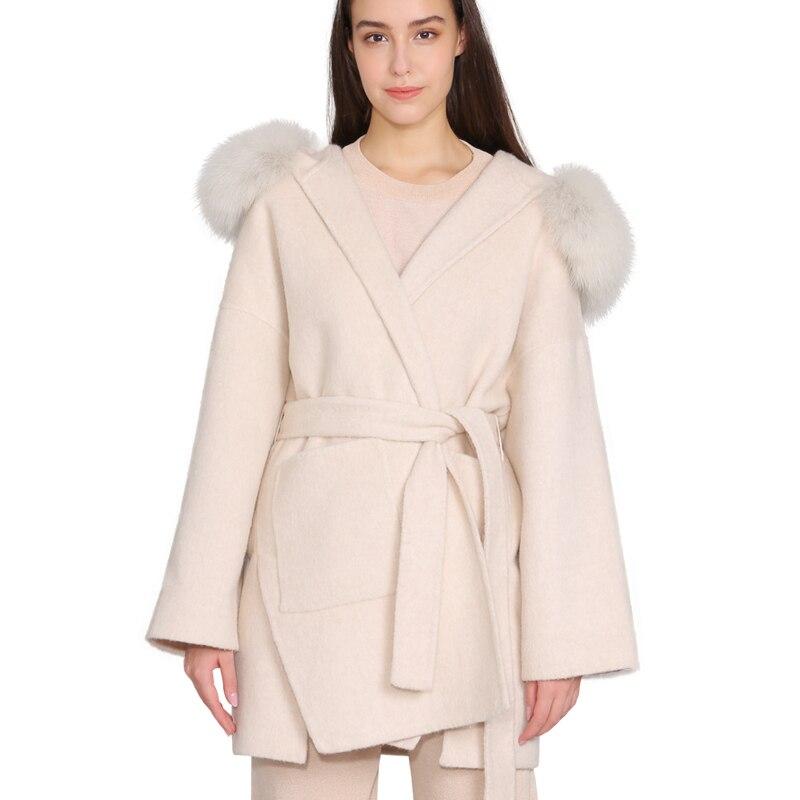 Cashmere Jacket Women Detachable Fox Fur Collar Wool Blend Coat And Jacket Belt Ladies Autumn Winter Cashmere Overcoat