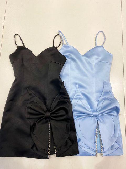 DEIVE TEGER 2021 Spring New Chic Diamonds Spaghetti Strap Fashion Flower Decorations Satin Vestido Club Party Women's Mini Dress 5