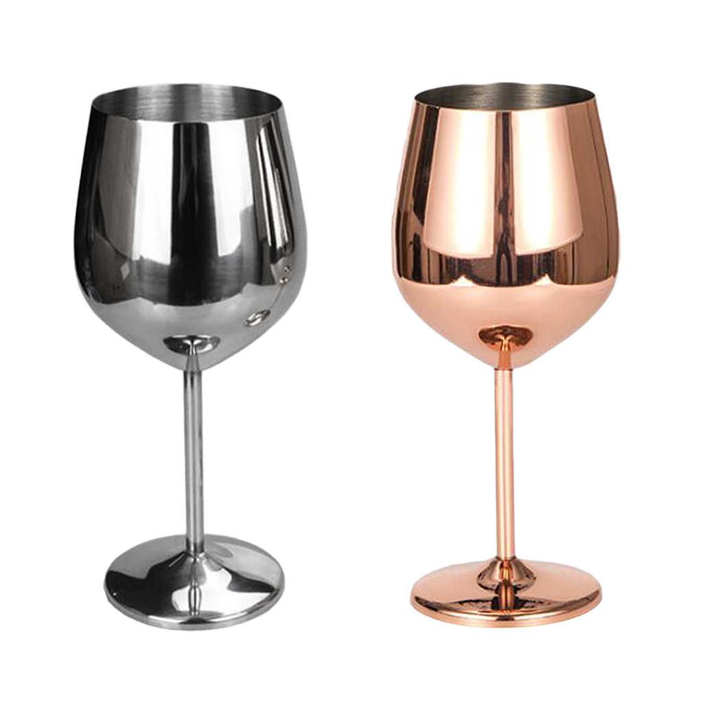 Paslanmaz şarap cam kadeh beyaz veya kırmızı şarap içme bardakları bardak gümüş kırmızı şarap kadehi gül altın