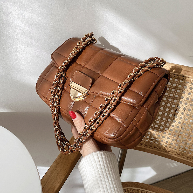 с доставкой Chain PU Leather Small Crossbody Bags 2021 Quality Ladies Designer Handbags Shoulder Simple Bag Women's Hand Bag