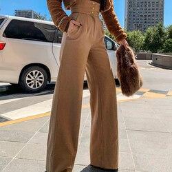 Le Palais Vintage 2019 Original Temperament Camel Hair Wool Vintage High Waist Girdle Wide Leg Pants Trousers Women High Quality