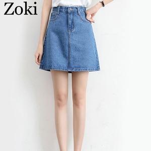 Image 4 - Zoki Sexy Women Denim Mini Skirt Fashion Summer High Waist Korean Black Skirt Blue Package Hip Jeans Harajuku Plus Size Cotton