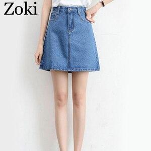 Image 4 - Zokiセクシーな女性デニムミニスカートファッション夏ハイウエスト韓国黒スカートブルーパッケージヒップジーンズ原宿プラスサイズ綿