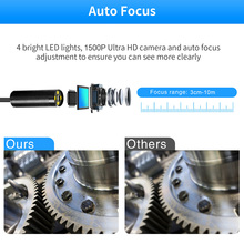 Led Waterproof Inspection Camera HD Tool Long View Range WIFI Wireless Borescope Car Semi Rigid Repair 1080P For IOS For Android