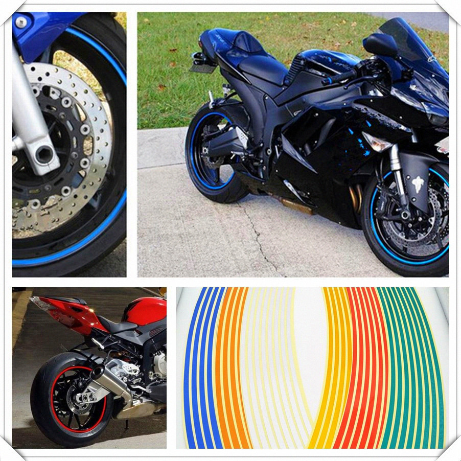Motorcycle Wheel <font><b>Sticker</b></font> Reflective Decals Rim Tape For <font><b>YAMAHA</b></font> YZ250FX YZ450FX WR250 450 WR250F <font><b>WR450F</b></font> TRICKER DT230LANZA image