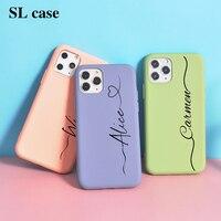 Nome personalizzato per iPhone 12 custodia lettere fai da te 12 Pro 8 Plus SE 2020 Cover Girls Silicone per iPhone 11 Pro Funda X XS Max XR 6 7 10