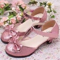 Zapatos para niños niñas moda princesa primavera t-strap sandalias de fiesta de tacón alto