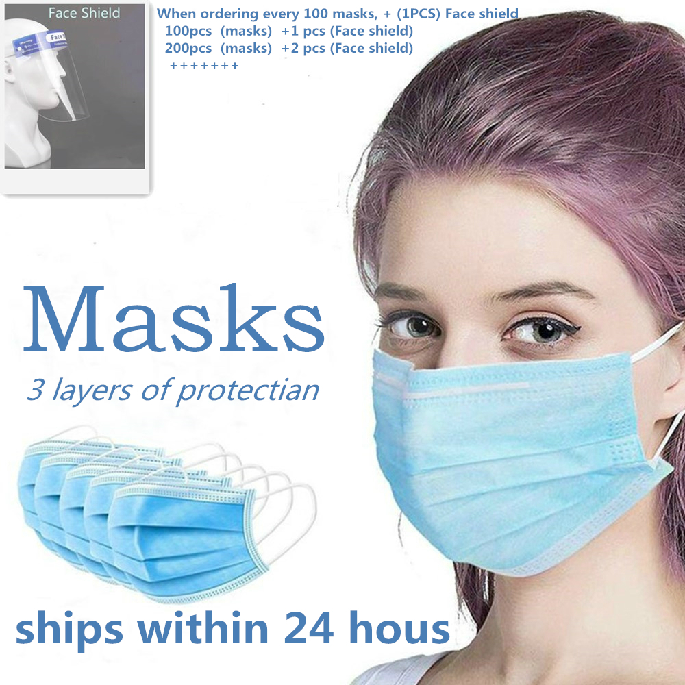 10/50/100pcs Disposable Face Mask 3 Ply Protective Non-woven Proof Flu Virus  Mouth Masks Soft Breathable Hygiene Safety Mouth