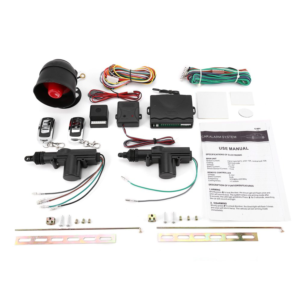 Universal Vehicle Remote Central Lock Keyless Entry System 2 Car Door Remote Central Locking Kit   Anti-theft Alarm Tool Set