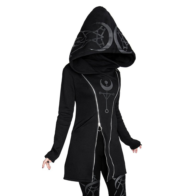 Gothic Punk Pullover Hoodies Frauen Langarm Mit Kapuze Sweatshirt Zipper Mantel Herbst Winter Weibliche Casual Hoodie Übergroßen Hoody