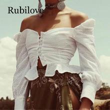 Rubilove Retro Embroidery Hollow out Dot Square neck Shirt Sexy 2019 Women Ruffles Hem buttons Slim Short Blouse Long sleeve Cot