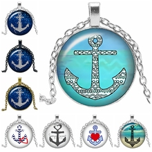 2019 New Creative Necklace Navy Love Anchor Glass Convex Round Personality Pendant Statement Necklace Fashion Jewelry 2019 new creative necklace green four leaf clover gift glass convex personality pendant necklace fashion jewelry