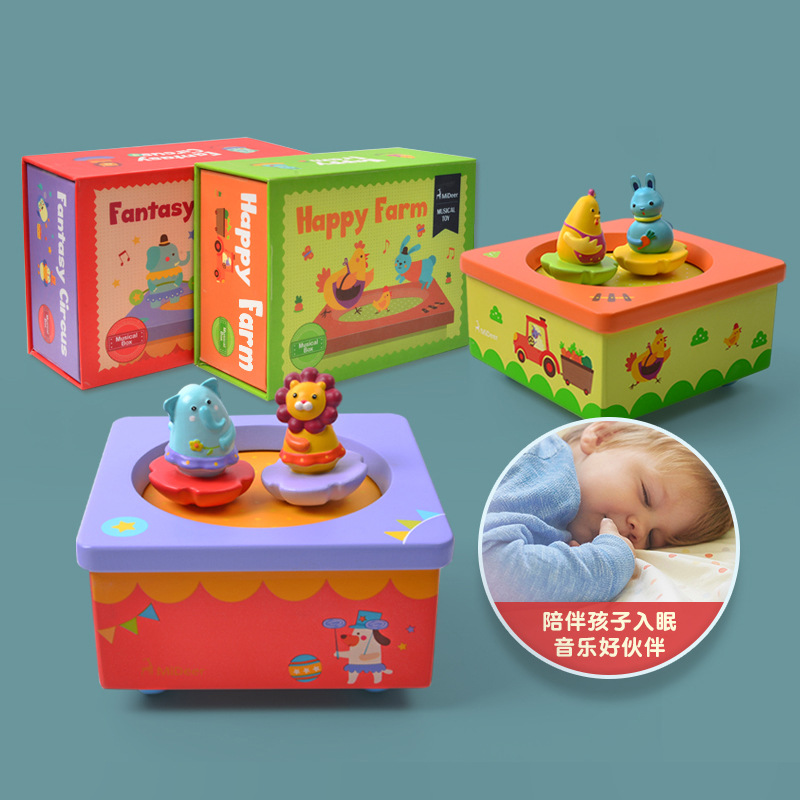 MiDeer Mi Deer Children Creative Rotating Animal Music Box Baby Lullaby Wooden Music Box Birthday Gift
