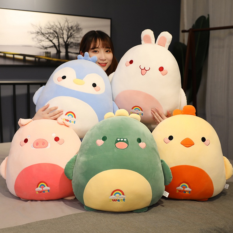 New Fat Kawaii Chicken Bear Rabbit Penguin Piggy Dinosaur Plush Pillow Toys Soft Stuffed Animal Doll Chair Cushion High Quality