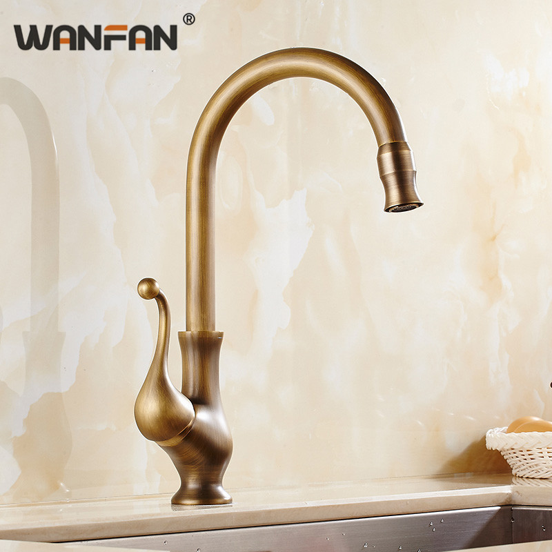 Kitchen Faucets Antique Bronze Brass Kitchen Sink Faucets Single Hand 360 degrees Swivel Spout Hot And Cold Wash Basin Tap 9102