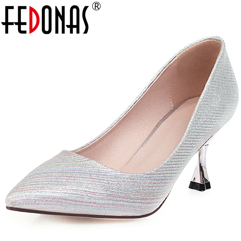 FEDONAS Fashion Elegant Pointed Toe Thin Heel Shallow Women Wedding Party Euro Style Pumps New Mixed Colors Slip-On Shoes Woman