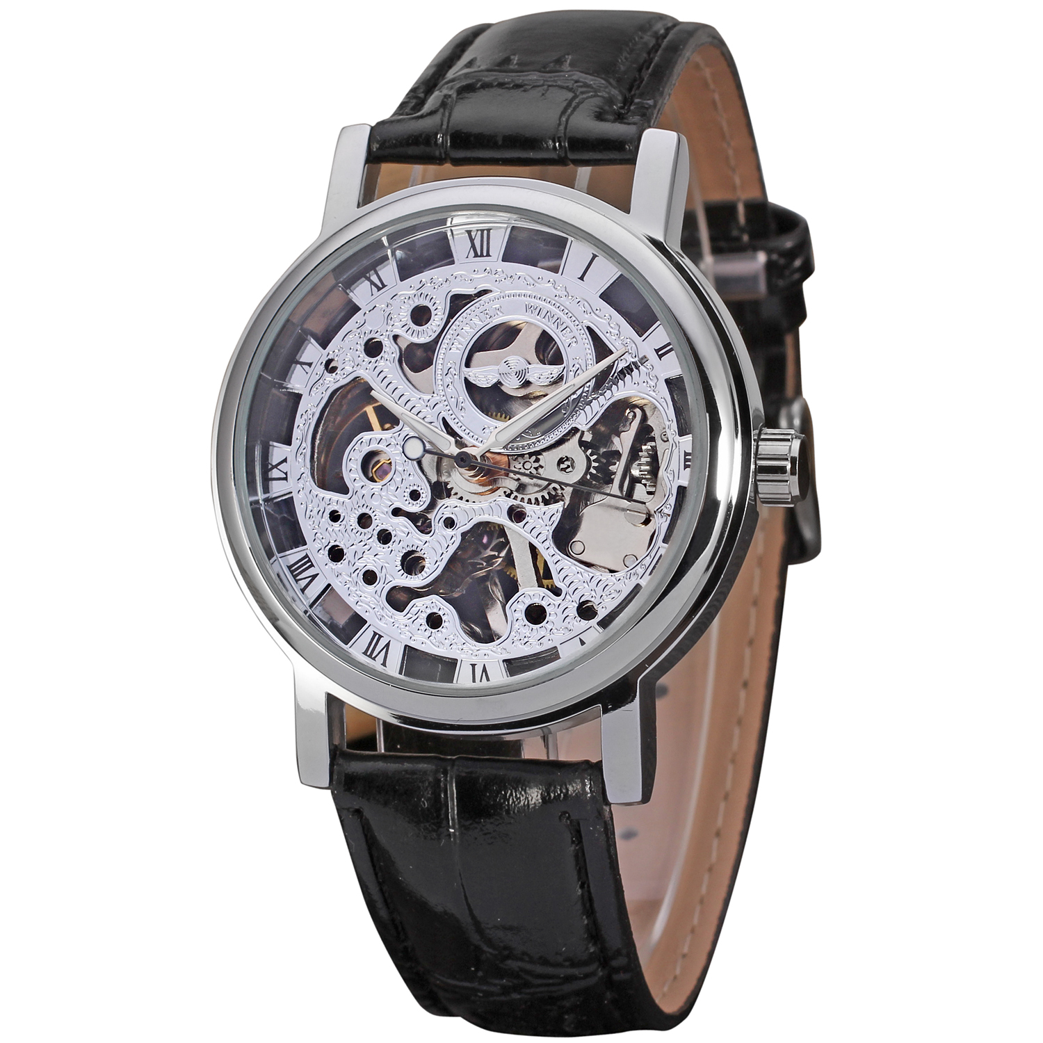 T-WINNER Fashion Business Men's Waterproof Watch Casual Leather Strap Hollow Dial Automatic Mechanical Watches