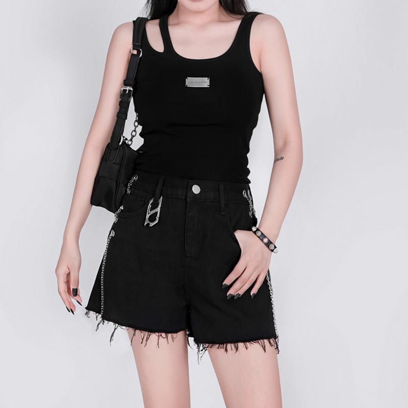 Y Demo Punk Rock Techwear Bag Women Metal Circles Chains Adjustable Nylon Zipper Handbag Party Black One Shoulder Bags New