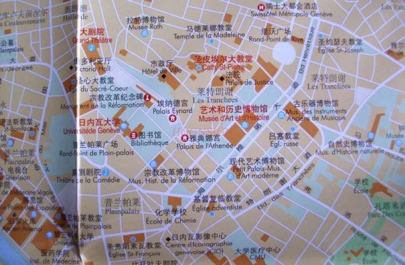 Switzerland Liechtenstein Map Europe Series Chinese And English