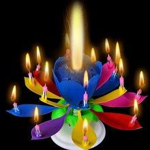Música aniversário vela dupla flor de lótus flor vela para festa de aniversário girando música bolo de aniversário plana girando