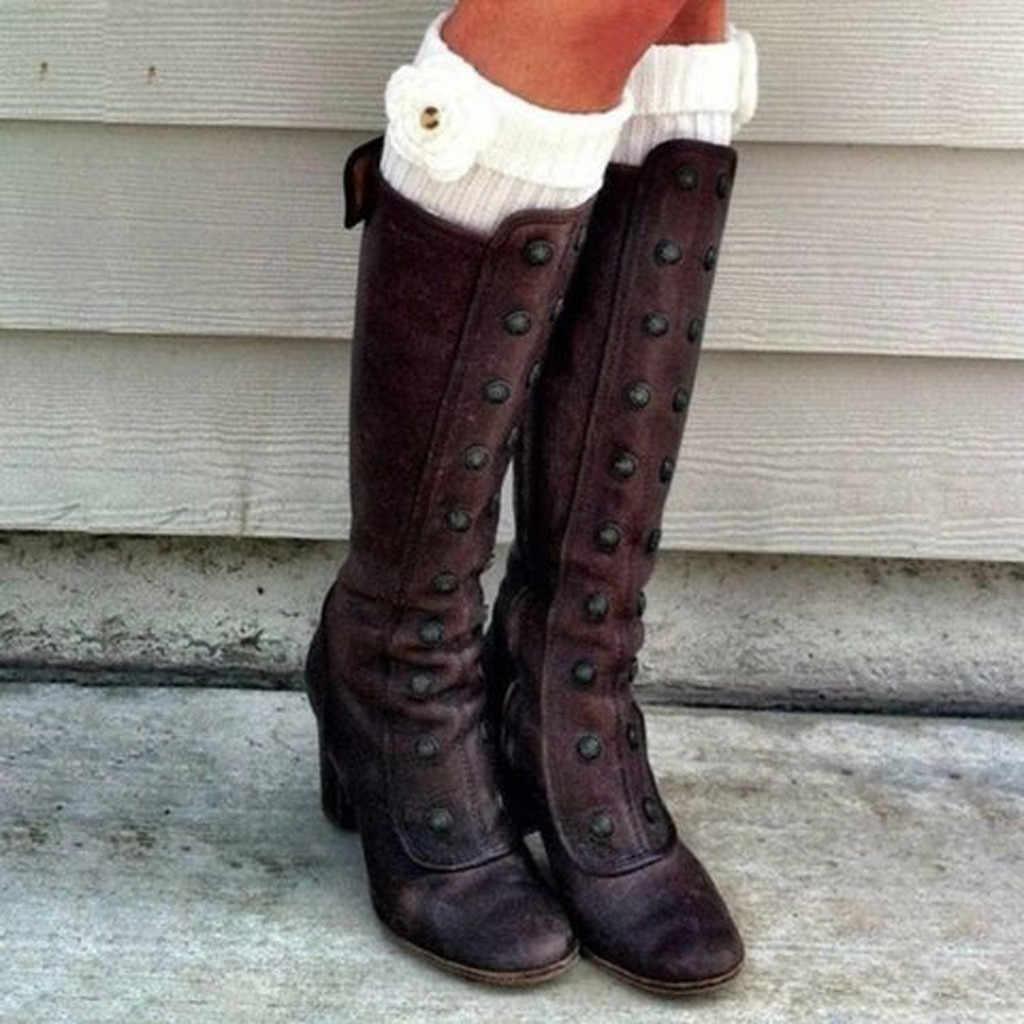 Kadın diz yüksek uzun çizmeler moda Retro perçinler yan Zip patik yüksek topuklu Retro ayakkabı kadın yüksek Boot isıtıcı yürüyüş kar botları