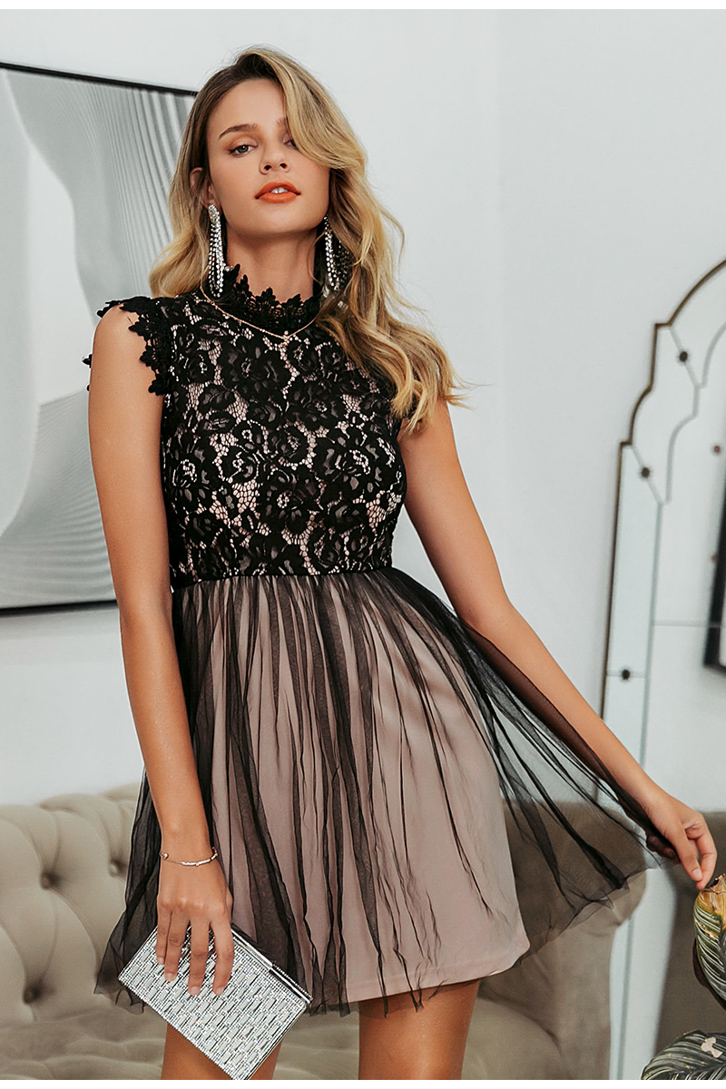 Embroidery Floral Black Sleeveless Lace Bodycon Dress 7