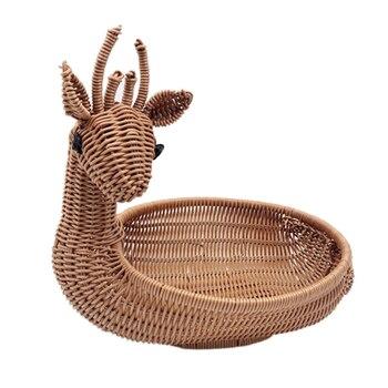 Трехместный ротанговый Плетеный корзина для фруктов, с имитацией оленьей хлебная корзина для фруктов миска-лоток овощные закуски корзина д...