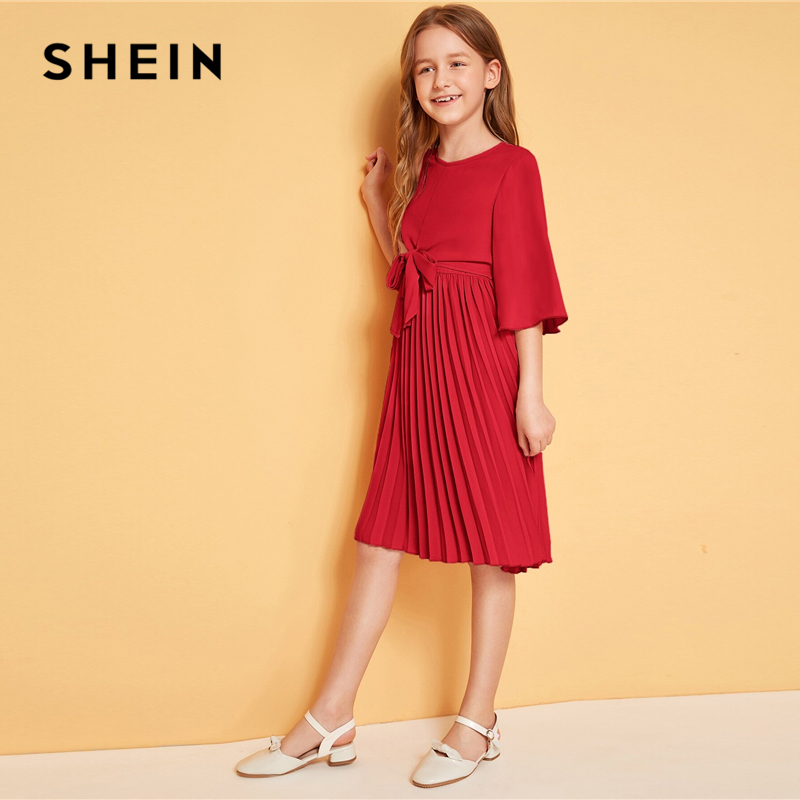 Image 5 - SHEIN Kiddie Solid Tie Front Pleated Girls Cute Dress Kids 2019 Summer Flounce Sleeve A Line Children Knee Length Dresses-in Dresses from Mother & Kids