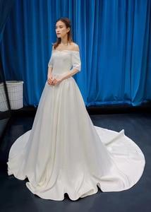 Image 3 - J66836 jancember cheap wedding dress boho chic strapless off shoulder half sleeve satin dress train свадебное платье с рукавами