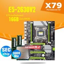 X79 טורבו האם LGA2011 ATX שילובי E5 2630 V2 מעבד 2pcs x 8GB = 16GB DDR3 RAM 1600Mhz PC3 12800R PCI E NVME M.2 SSD