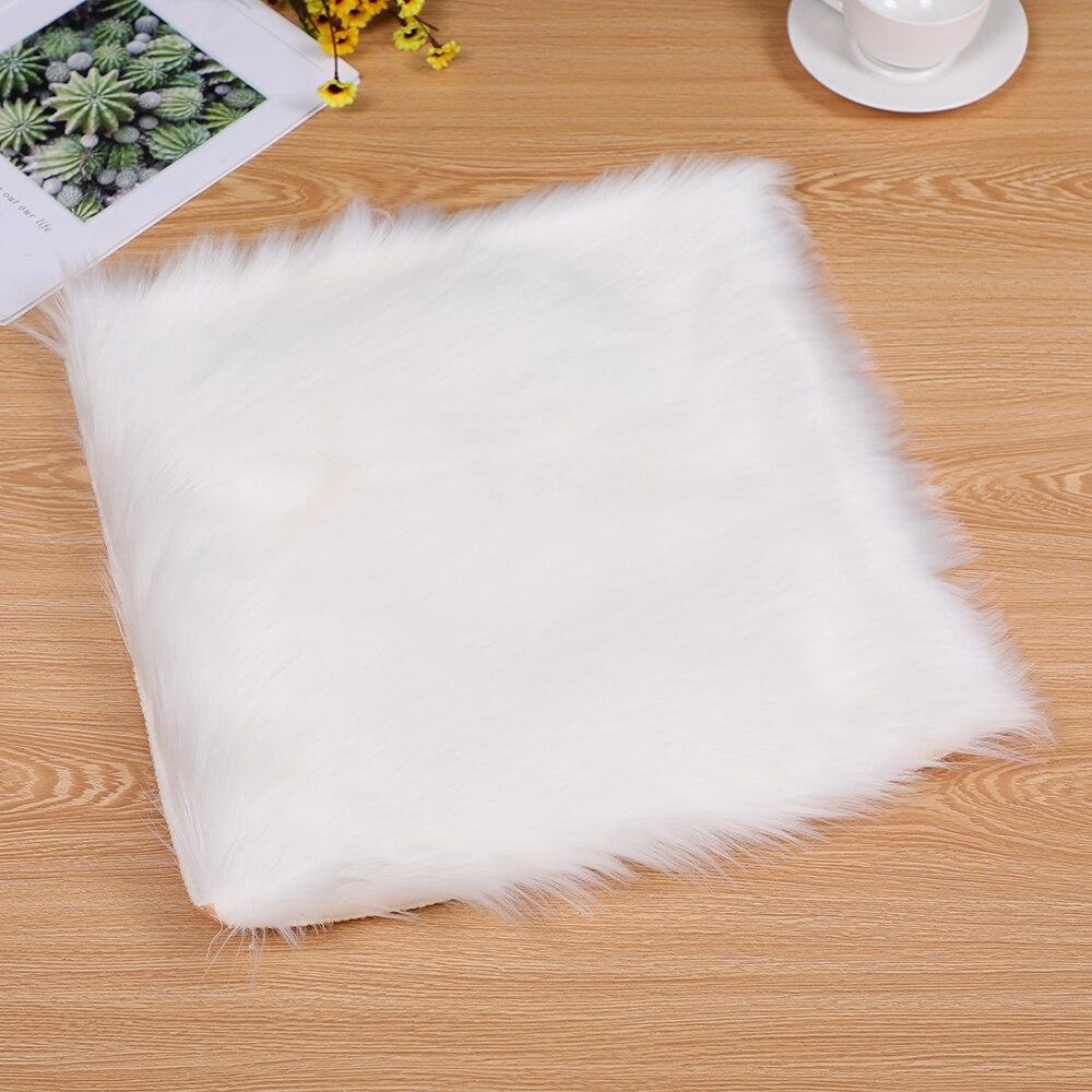 Square Faux Fur Sheepskin Chair Cover Seat Cushion Pad Warm Skin Fur Plain Fluffy Area Rugs Washable For Living & Bedroom Sofa