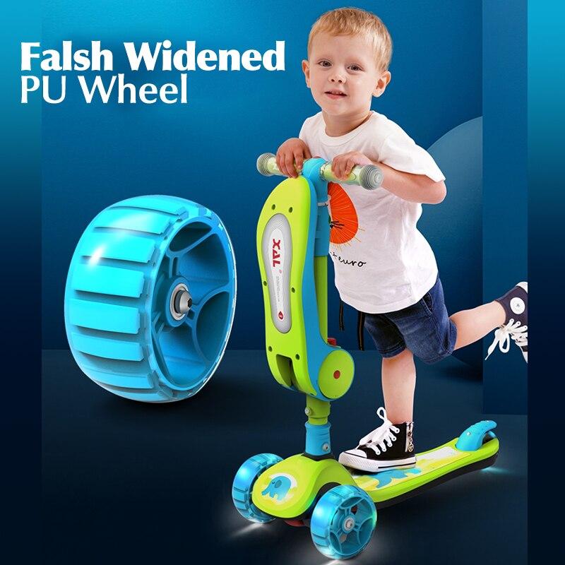 Детский Блестящий детский скутер, игрушечный автомобиль, велосипед, уличные игрушки 2 в 1, детские флэш-колеса, складной скейтборд, От 3 до 12 л...