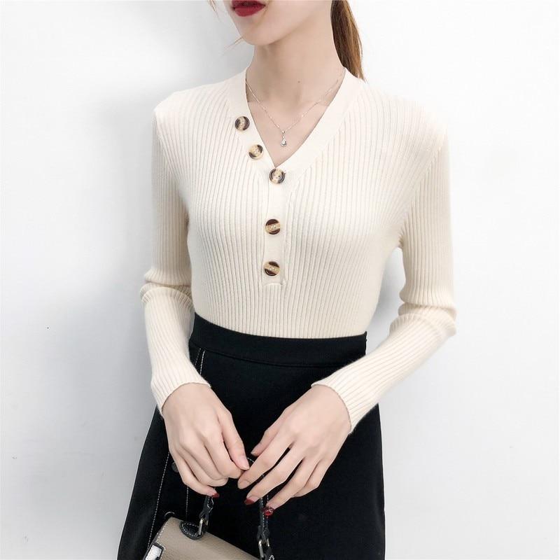 Trui Vrouwen 2019 Herfst Winter Nieuwe Button Solid Trui Lange Mouwen V-hals Mode Losse Harajuku Slanke Trui Vrouwelijke Tops