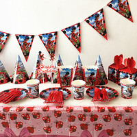 152Pcs/Lot Ladybug Theme Disposable Tableware Sets Children's Day Kids Birthday Decoration Event Party Supplies Various Maker