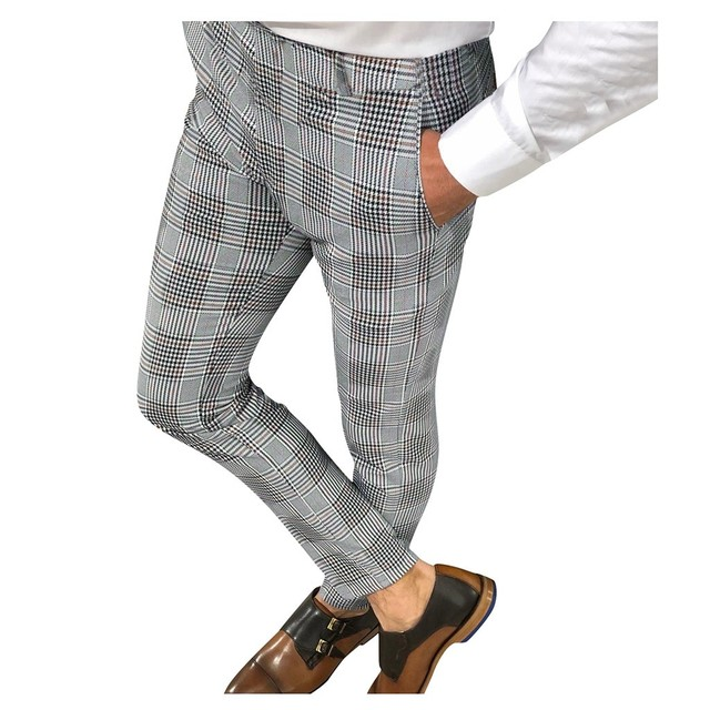 KANCOOLD Brand Pants Men Casual Elastic Long Trousers Male Cotton lattice straight gray Work Pant men's autumn Large size 107 2