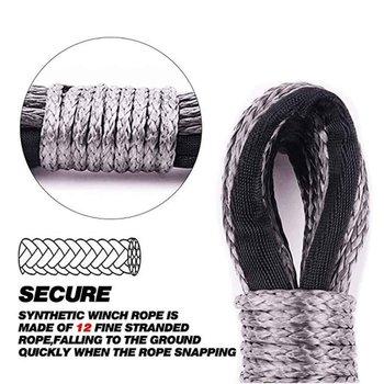 Nowy 7700lbs kabestan elektryczny lina lina nylonowa o wysokiej wytrzymałości lina z włókna 6mm x 15m lina holownicza pasek holowniczy tanie i dobre opinie CN (pochodzenie) 45cm Polyethylene Liny holownicze 0 4kg JT1036901 6mmX15m