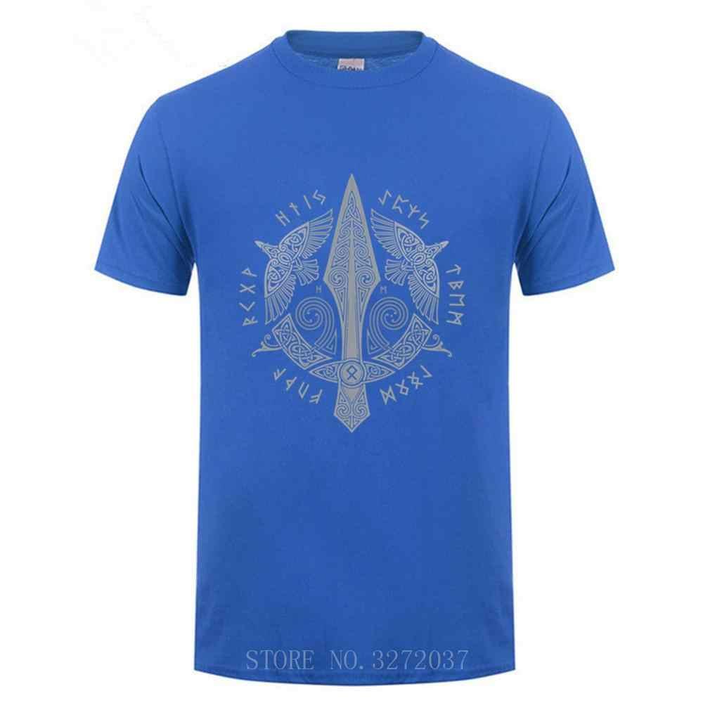 Viking Carismático GUNGNIR guy Camisetas Camisas Dos Homens T de Verão de 2019 100% Algodão de Manga Curta T camisa dos homens Da Tripulação Pescoço