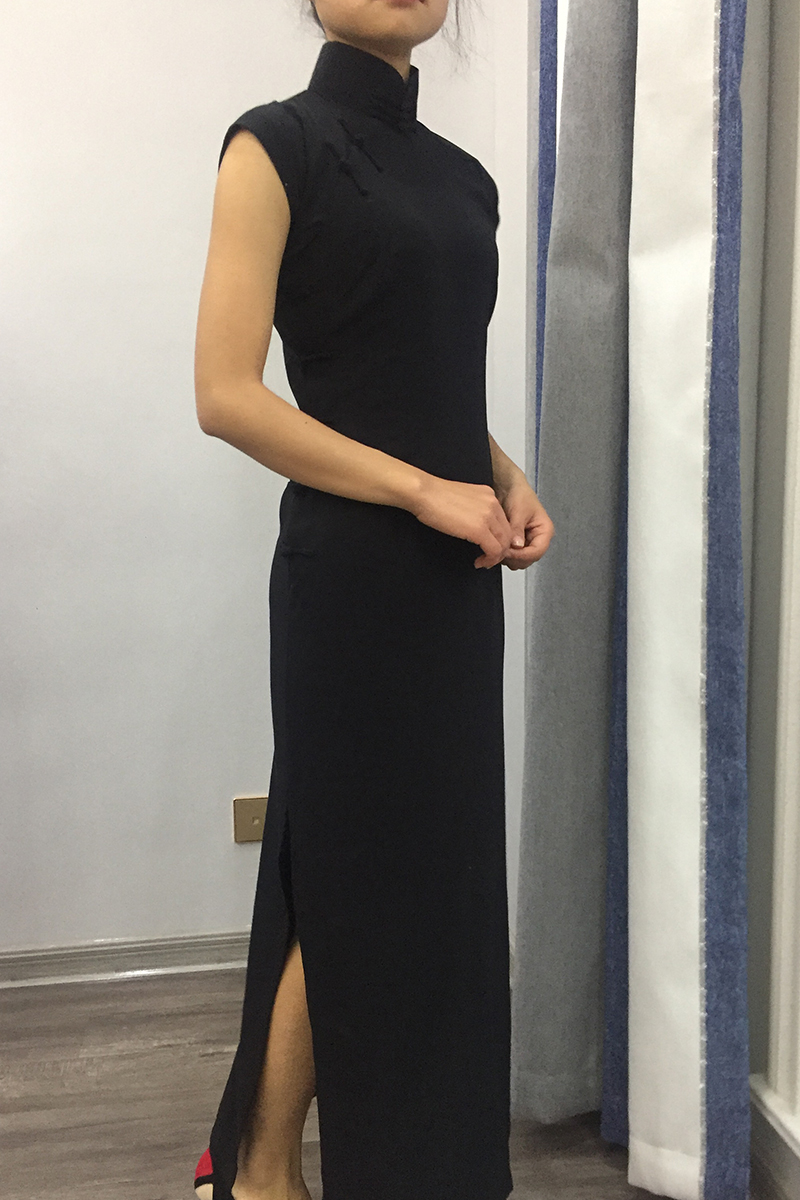 Customized Black Women Lady Traditional Chinese Dress Mandarin Collar Qipao Oversize Long Slim Split Cheongsam - 6