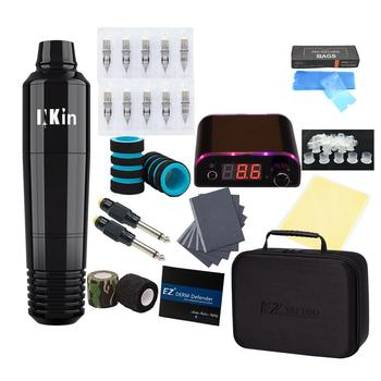 EZ Complete Beginner Tattoo Kit Motor Pen Machine with Power Supply Foot Pedal Cartridge Tattoo Needles Set Tattoo Supply complete tattoo kit professional beginner machine set tattoo gun pigment induction tattoo power supply set