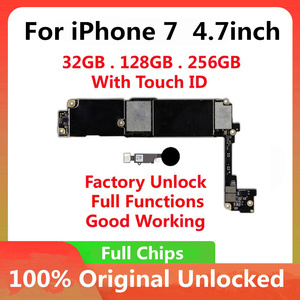 Image 1 - 32GB 128GB 256GB For iPhone 7 4.7inch Motherboard Unlock With Full Chips Touch ID Original IOS Update Completed Logic Board