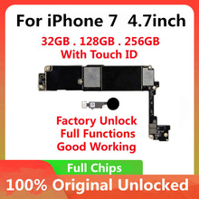32GB 128GB 256GB iPhone 7 용 4.7inch 마더 보드 풀 칩 터치 id로 잠금 해제 원래 IOS 업데이트 완료 로직 보드