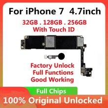 32gb 128gb 256gb para iphone 7 4.7 polegada placa mãe desbloqueio com chips completos toque id original ios atualização concluída placa lógica