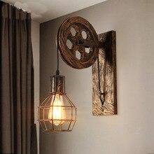 Vintage pared + lámparas lámpara led lámparas de pared Retro Accesorios de pared de elevación polea dormitorio lámpara americana Industrial espejo Luz