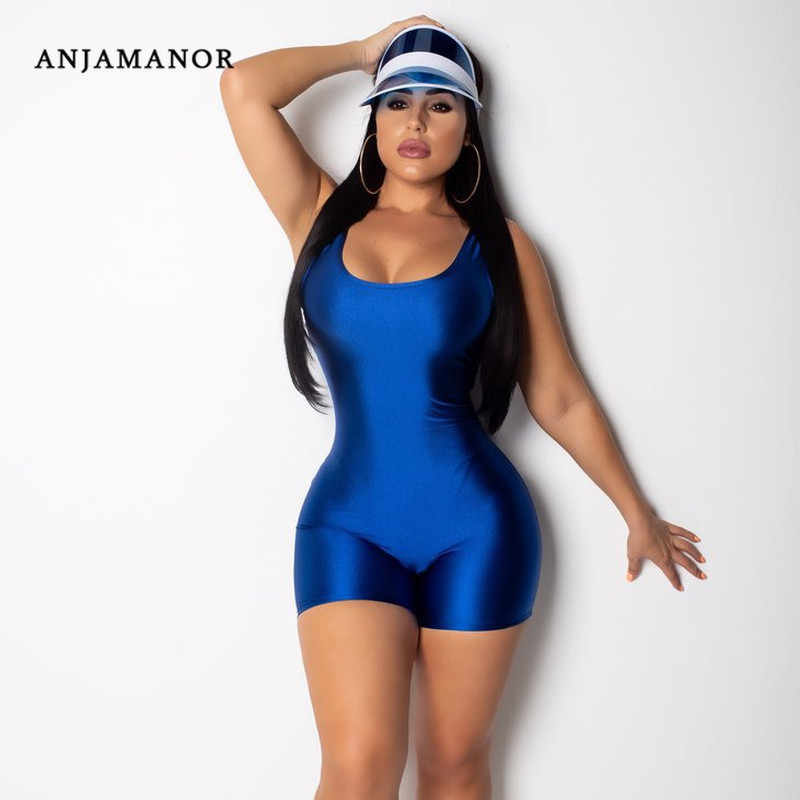 Sexy Bodycon una pieza mono Mujer Pantalones cortos mameluco chándal Fitness Candy Color sin mangas Backless Playsuit D53-AZ21