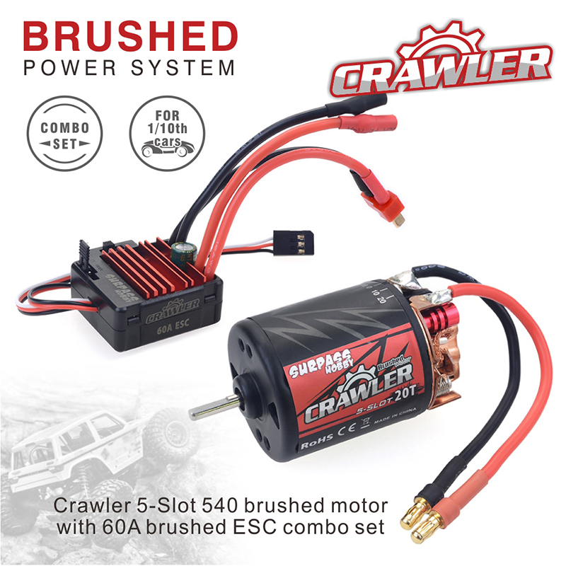 Waterproof 5-Slot 540 550 10T 11T 12T 13T 16T 20T Brushed <font><b>motor</b></font> w/ 60A 80A ESC for tamiya Kyosho TRAXXAS WLtoys 1/10 <font><b>RC</b></font> Car image