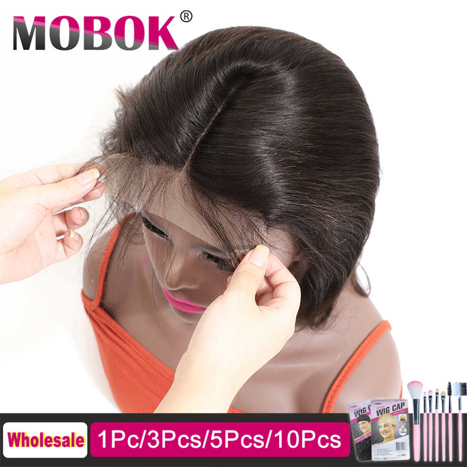 MOBOK 5x5 Lace Closure Brazilian Straight Free/Middle/Three Part Remy Hair Closure with Baby Hair 100% Human Hair 8-22inch