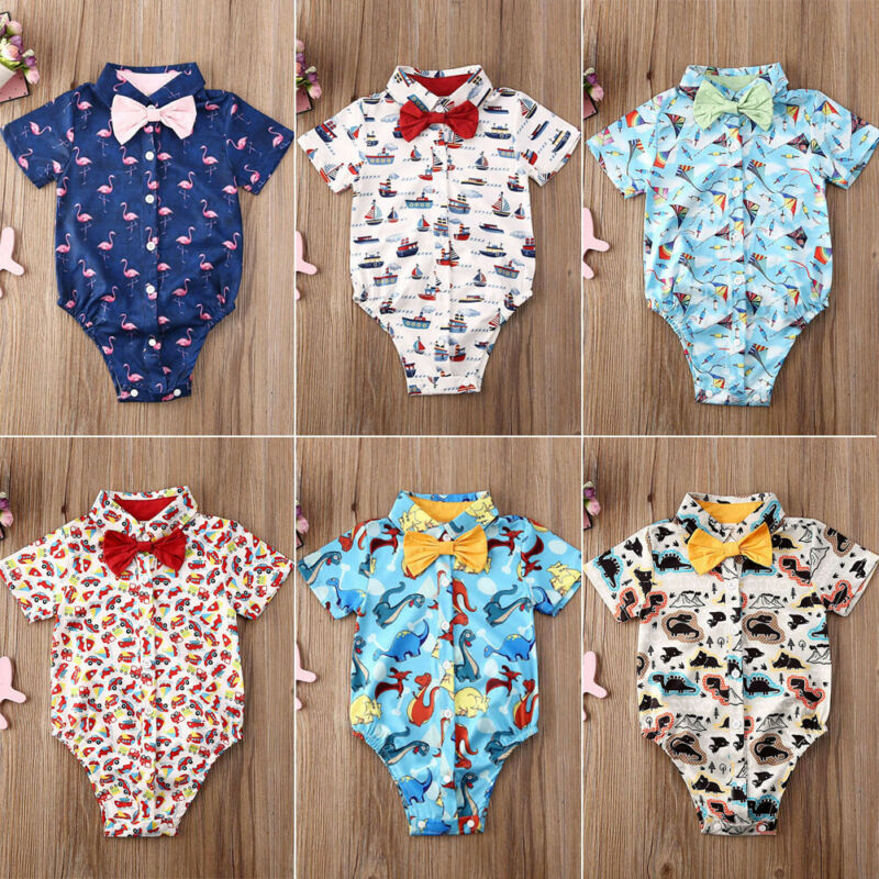 Fashion Toddler Infant Baby Boy Gentleman Clothes Dinosaur Flamingo Short Sleeve Bow Bodysuit Jumpsuit Outfit Costume Clothing